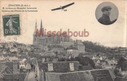28- CHARTRES -  Latham Sur Monoplan Antoinette Au-dessus Des Flèches De La Cathédrale - 2 Scans - 1912 - Chartres