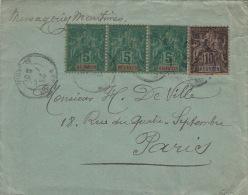 Lettre Reunion ST Denis 5cts Bande De Trois&10cts Pour Paris 1895 - Réunion (1852-1975)