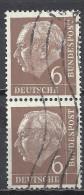 Deutschland BRD 1954 Mi 180, 6 Pf. Senkrechter 2er Streifen Gestempelt, Siehe Guten Scan, Sc # 705, Yv 65, Theodor Heuss - BRD