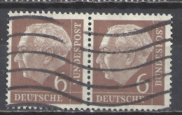 Deutschland BRD 1954 Mi 180, 6 Pf. Waagerechtes Paar Gestempelt, Siehe Guten Scan, Sc # 705, Yv 65, Theodor Heuss - BRD