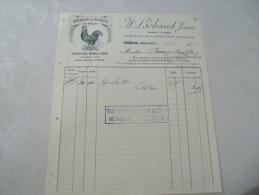Ancienne Facture Illustree Tournus Coq Poule Lachaud Volaille De Bresse - France