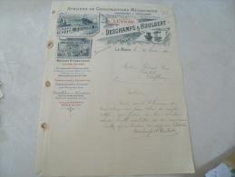 Ancienne Facture Illustree Le Mans Deschamps Houlbert Construction - 1900 – 1949