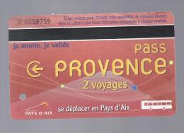 Carte Pass Provence 2 Voyages. Aix en Provence. (Voir commentaire)