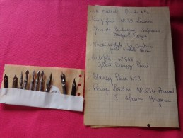 Lot De Plumes Mallat-perry Fine-baignol Farjon-la Comtoise-gilbert Blanzy - Plumes