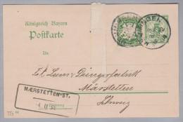 Heimat TG MAERSTETTEN-ST. 1904-04-04 Aushilfsstempel Als Ankunfts-St. Auf Bayern Ganzsache Mit Zusatzfrankatur - Poststempel