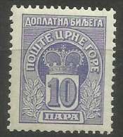 Montenegro - 1907 Postage Due Crown 10h MLH  Sc J20 - Montenegro