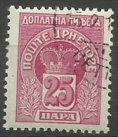 Montenegro - 1907 Postage Due Crown 25pa CTO  Sc J21 - Montenegro