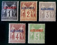 BUREAU FRANCAIS - TIMBRES DE FRANCE SURCHARGES ALEXANDRIE 1899/00 - NEUFS * - YT 1/5 - MI 1/5 - Alexandria (1899-1931)