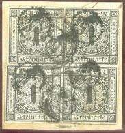 Baden 1853 Viererblock Mi# 5 Mit Zahnradstempel #35 - Baden