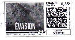 ADHESIF AUTOCOLLANT AUTOADHESIF Personnalisé MONTIMBRENLIGNE 0.65€  Oblitéré  2015    LETTRE  VERTE - France