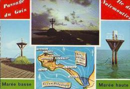 Île De Noirmoutier  H109        Contour Géographique Et 3 Vues ( Passage Du Gois ) - Ile De Noirmoutier