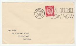 1962 Cambridge GB COVER SLOGAN Pmk CIVIL DEFENCE JOIN NOW Stamps - Briefe U. Dokumente