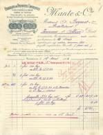 FACTURE LETTRE : MARSEILLE . MANTE ET CIE . FABRIQUE DE PRODUITS CHIMIQUES . 1922 . - France