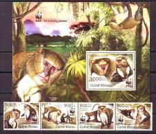 Guinee Bissau 2013 Y Fauna Animals WWF Monkeys Series + Block MNH - W.W.F.