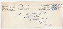 1966 Croydon COVER Slogan REMEMBER TO USE THE POSTAL CODE Stamps Gb - Post