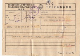 24791- TELEGRAMME SENT FROM BAZNA TO CLUJ, 1957, ROMANIA - Télégraphes