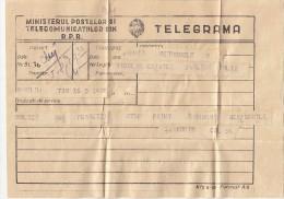 24792- TELEGRAMME SENT FROM CLUJ TO ALBA IULIA, 1957, ROMANIA - Télégraphes