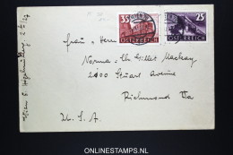 Österreich 1937 Brief Mi 647 + 648 To Richmond USA - 1918-1945 1. Republik