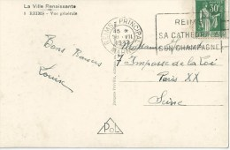 3298 REIMS Principal Marne Carte Postale 30 C Paix Yv 280 Ob 28 7 1937 - France