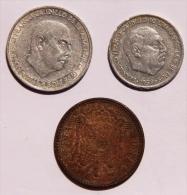 ESPAGNE Lot De 3 Pièces De 5 De 1959 Et 10 Cents De 1966 Et 1 Surement 1 Peseta De 1963 - Espagne