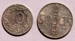 ESPAGNE Lot De 2 Pièces De 10 Cts De 1959 Et 50 Cts De 1966 AB - [ 5] 1949-… : Royaume