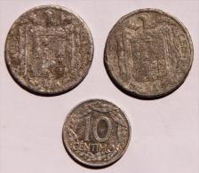 Espagne Lot De 3 Pièces  2 De Diez Cents De 1945 Abimées Et Une De 10 Cents De 1959 - Espagne