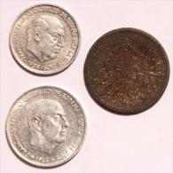 Espagne Lot De 3 Pièces 1 Peseta De 1953 Cuite Une 50 Cts De 1966 B Et Une De 10 Cents De 1959 B - Espagne