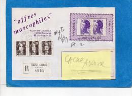 """MARCOPHILIE-lettre REC-""""offres Marcophiles""""   Afftb Sur Espace Dédié Imprimé Type  Vignette  Porte Timbrecad 1991 - Marcophilie (Lettres)"""