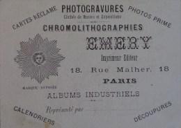 PARIS CARTE DE VISITE EMERY IMPRIMEUR CHROMOLITHOGRAPHIES 18 RUE MALHER - Cartoncini Da Visita