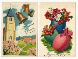 2 Belles CPA Joyeuses Paques-cloches - Oeufs- église-série Gil N°410 - Easter