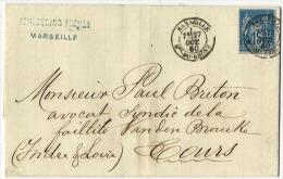 Lettre Enveloppe  Timbrée1880-cachet Oblitération Marseille-envoyée à M. Paul Breton Avocat De M Van Den Brouck à Tours - 1877-1920: Semi-Moderne