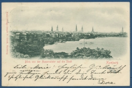 Hamburg Blick Von Der Aussenalster Zur Stadt, Gelaufen 1899 Marke Fehlt (AK161) - Mitte