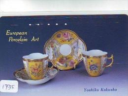 Telecarte  ART (1735) -Art Artisanat - Plate / Boîte Décorative Poterie / Vase   Decoration /  Japan Phonecard - Peinture