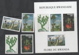 RWANDA ,1995,  MNH, FLORA, CACTI, TREES,  4v+ SHEETLET , SCARCE, - Cactusses