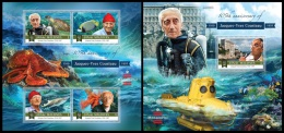 mld15805ab Maldives 2015 105th anniversary of Jacques-Yves Cousteau Fish 2 s/s
