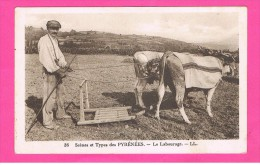 D64. SCENES ET TYPES DES PYRENEES. LE LABOURAGE. BOEUF. PAYSAN. ATTELAGE. - France