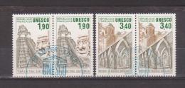 FRANCE / 1986 / Y&T SERVICE N° 91/92 (2 Paires) : UNESCO (Tikal/Bagerhat) - Choisis - Cachets Ronds UNESCO FDC) - Oblitérés