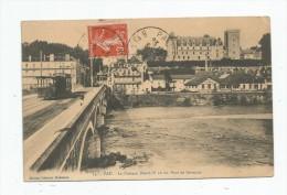 Cp , 64 , PAU , Le Château HENRI IV  Vu Du Pont De JURANCON , Voyagée 1911 - Pau
