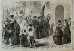 Habitants De Megnegnano (duché De Parme) Venant Voter à Pontremoli Sur L'annexion Au Piémont - Page Original 1860 - Historische Documenten