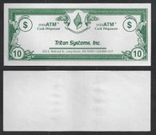 "Test note ""TRITON SYSTEMS"" Testnote, Typ A, 10 Units,, eins. Druck, Sample, RRR, UNC"