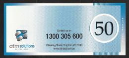 "Test Note ""ATM SOLUTIONS"" Testnote, 50 Units,, Beids. Druck, Sample, RRR, UNC - Australien"