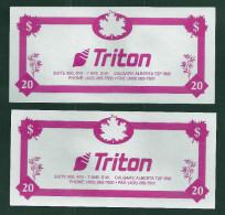 "Test note ""TRITON CANADA"" Testnote, Typ D, 20 Units,, pink, beids. Druck, Sample, RRR, UNC"