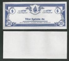 "Test note ""TRITON SYSTEMS"" Testnote, Typ A, 20 Units,, eins. Druck, Sample, RRR, UNC"