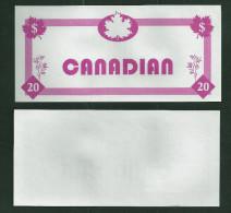 "Test note ""TRITON CANADIAN"" Testnote, Typ A, 20 Units,, pink, eins. Druck, Sample, RRR, UNC"