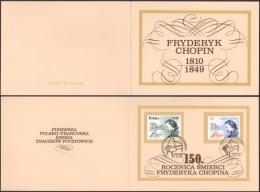 Poland 1999 Mi 3794 3428 150 Death Anniversary Of Fryderyk Chopin Souvenir Card - Emissions Communes