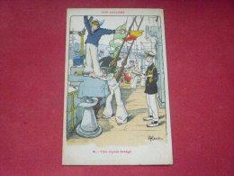 Ancienne Carte Postale : : Illustrateur H. GERVESE   OUR SAILORS :  8 - THE SIGNAL BRIDGE - Cartes Postales