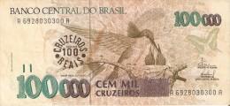 BILLETE DE BRASIL DE 100000 CRUZEIROS CON RESELLO 100 REAIS (BANK NOTE) COLIBRI-MARIPOSA-BUTTERFL Y - Brasil