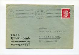 1942 3. Reich Frankierter Vordruckbrief NSDAP Hitlerjugend Gebiet Schwaben Gelaufen - Deutschland