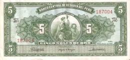 BILLETE DE PERU DE 5 SOLES DE ORO DEL AÑO 1965 CALIDAD EBC (XF) (BANK NOTE) - Perú