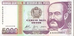 BILLETE DE PERU DE 5000 INTIS DEL AÑO 1988  (BANKNOTE) SIN CIRCULAR-UNCIRCULATED - Perú